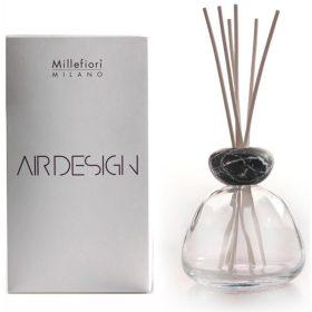 Millefiori Milano, Air Design, Dizajnový Aróma Difuzér, Marble Glass Clear, Black Marble Cap