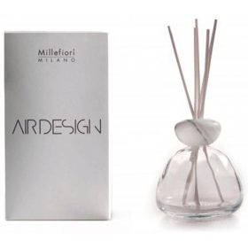 Millefiori Milano, Air Design, Dizajnový Aróma Difuzér, Marble Glass Clear, White Marble Cap